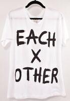 EACHxOTHER Women's White/Black Logo T-shirt Top, size MEDIUM