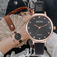 Women's Big Dial Watch Casual Quartz Leather Band Analog Girls Round Wrist Watch
