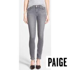 Paige 28 Verdugo Ankle Zip Jeans Oxford Grey Destructed Cotton Stretch 5 Pocket