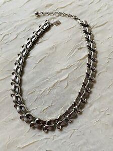 Vintage Silver Tone White Metal Trifari Necklace