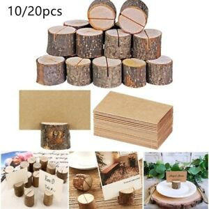 10/20pcs Wood Pile Name Place Card Holders Wedding Photo Clip Home Table Decor
