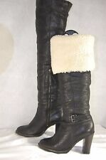 MIU MIU SHEARLING LEATHER HI HEEL RIDING OVER THE KNEE  BOOTS EU 37.5 US 7.5