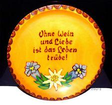 Holz Teller Sammelteller rund Ohne Wein und Liebe ist Leben trübe! Blumen Deko