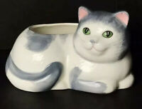 Vintage Avon White Gray Ceramic Cat Planter Collectible Gift Collection Kitty