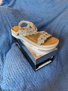 Women's Silver Platform Diamanté Glitter Sandals