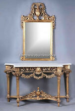 Gold Leaf Ornate Console Table with Mirror French Chic White Marble topped Gilt