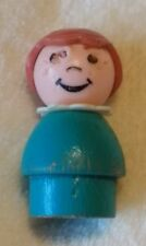 Vintage Fisher-Price Little People Teal/turquoise wood body and  plastic head