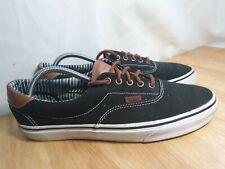 VANS ERA 59 CL Canvas Shoes Black With Brown Leather Trims UK 10
