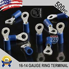 500 PACK 16-14 Gauge #6 Stud Insulated Vinyl Ring Terminals 100% Tin Copper Core