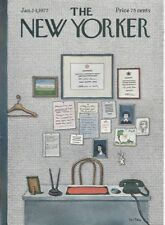 The New Yorker magazine ~ COVER ONLY ~ Le-Tan ~ January 24, 1977 ~ Office wall