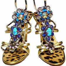 Roberto Cavalli Gold tote Leather Swarovski Crystal Turquoise Embellished Shoes