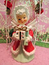 Vtg NAPCO Red Christmas Angel Girl W Holly Berry Gifts & Wreath ~ BLUE EYES