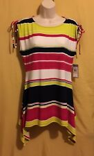 Chaus NY women's Tropical multi striped shark bite stretch tunic top rose S $64