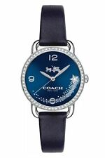 NWT COACH Women's Delancey Crystal Accent Blue Leather Strap Watch 14502668 $250