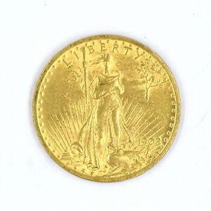 1908 NO MOTTO $20 SAINT GAUDENS DOUBLE EAGLE 90% GOLD US COLLECTIBLE COIN VF-XF