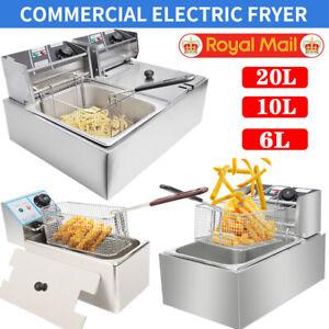6L/10L/20L Commercial Electric Deep Fat Fryer Chip Single Double Tank Easy Clean