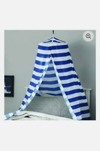 New! Your Zone Bed Canopy Room Decor Boys Girls Unisex Blue/White Retail $35