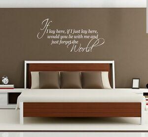 Snow Patrol music lyrics wall art sticker If I lay here bedroom home Lounge diy