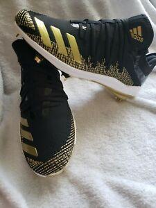 NEW Sz 8.5 Men's Adidas Afterburner 6 Black Gold Baseball Cleats G27657