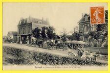 cpa BREVAL en 1912 (Yvelines) Avenue de la Gare HÔTEL DUCHÊSNE AUTOMOBILEs
