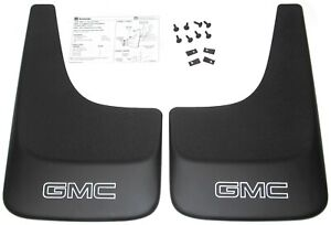 Sierra Yukon Black Contoured Mudflaps Mud Flaps W/ Logo NEW GENUINE GM PAIR 394