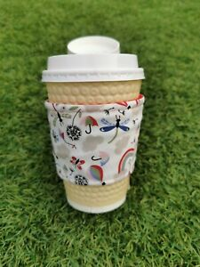 Handmade Rainbow Reusable travel Cup Sleeve,eco, washable coffee heat resistant