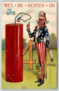PFB Patriotic~Uncle Sam Lights Exaggerated Firecracker~Busted July 4~CB Bunnell