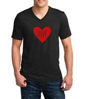 Mens V-neck LOVE T Shirt Tee Valentines Day T-Shirt Anniversary Wedding Gift