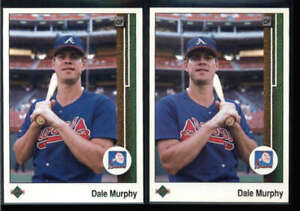 DALE MURPHY 1989 UPPER DECK #357 BASE and REVERSE NEGATIVE COMBO (RARE) N7347