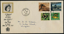 Jamaica 248-51 on addressed FDC - Royal Visit, Flag, Map, Butterfly, Sports