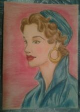 WENDY SCOPA.ORIGINAL COLORED PENCIL.ACEO.SIGNED-Woman,Lady.High Fashion.1950s.