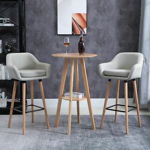 HOMCOM Mid-Century Round Cocktail Bar Table with Wood Legs for Pub, Dining Room