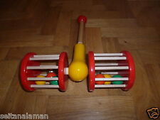 RARE WOODEN PULL TOY GREEK KOUVALIAS - ROLLER- VINTAGE UNIQUE