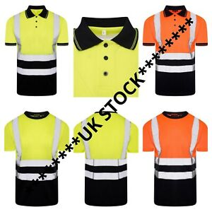 PREMIUM AVIATOR Hi Viz Visibility T Shirt Safety Work High Vis Two Tone Short
