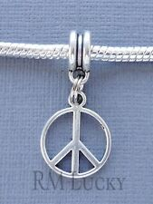 PEACE SIGN One Pendant Bead Dangle Fits European Charm Bracelet or Necklace C155