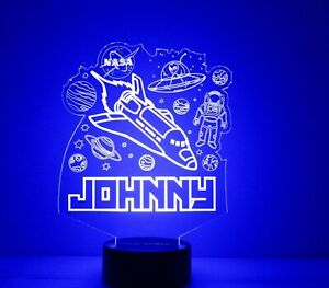 Rocket Ship In Space LED Light Personalized FREE - Kids LED Night Lamp w/ Remote