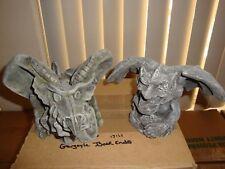 2 Medieval European Fierce Winged Gargoyle Sentinel Thinker Statue Gothic