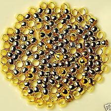 Kaschierperlen Hohlkugeln Metall Großloch 4mm gold 50x