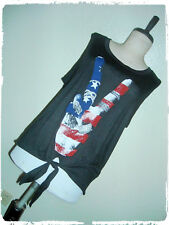 French Pastry Black Peace Hand Sign American Flag USA Tie Wast Tank 1X
