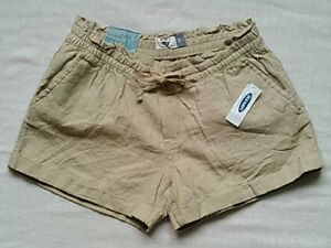 Old Navy Womens Mid-Rise Linen-Blend  Cuffed Shorts with Drawstring, Beige, XS