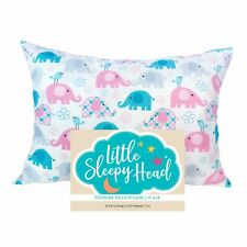 "Little Sleepy Head Toddler Pillowcase (13"" X 18"") - Elephants"