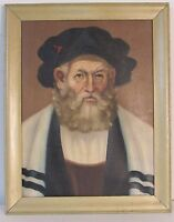 JUDAICA1960s PORTRAIT OF RABBI OIL ON CANVAS , SIGNED