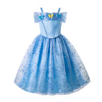 Kids Girls Cinderella Princess Fancy Dress Toddler Cosplay Party Costume  4-8Y