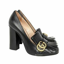 Gucci Black Leather Pearl GG  Marmont Heels EU 39 / US 9