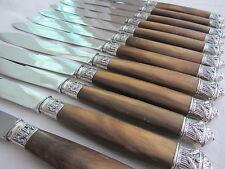 12 grands couteaux manche corne bovin virole argent style Louis XVI 20787