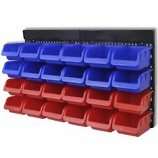 Vidaxl 2x cajas almacenaje de pared Azul/rojo organizador para herramientas