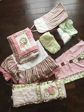 CoCaLo 10-pc Crib Bedding Nursery Set Brown/Pink/Green Corduroy Polka dot Stripe