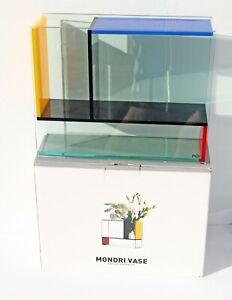 MONDRI VASE By PO: Acrylic Panels–3 Chambers–Homage to Piet Mondrian's Art - NEW