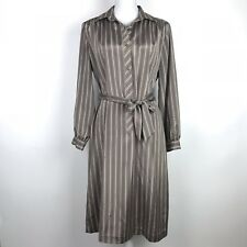 Vintage Lanvin Dress Women's Size 14 M/L Brown White Striped Shirt Dress Belted