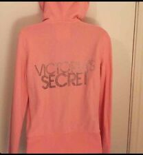Victoria's Secret Medium Coral Pink Super Model Essentials Hoodie Rhinestone GUC